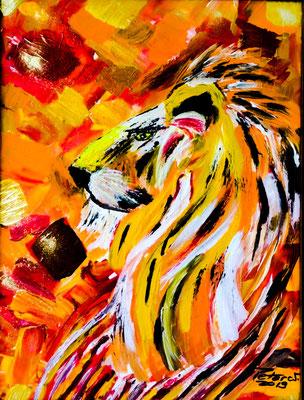 Der König der Löwen Achryl auf Leinwand 30 x 40 cm (verkauft)