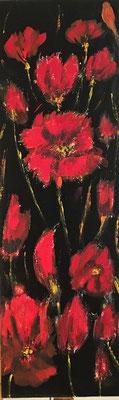 NMohnblumen, Acryl auf Leinwand 35 x 75 cm