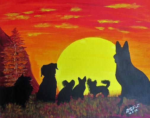 Hunde im Sonnenuntergang.  (verkauft)