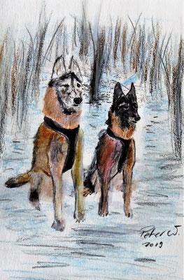 2 Schäfer im Wald. Buntstifte und Neocolor, Karte A5 (verkauft)