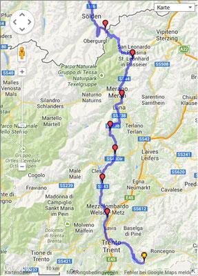 Route Rückfahrt von Levico - Oy-Mittelberg