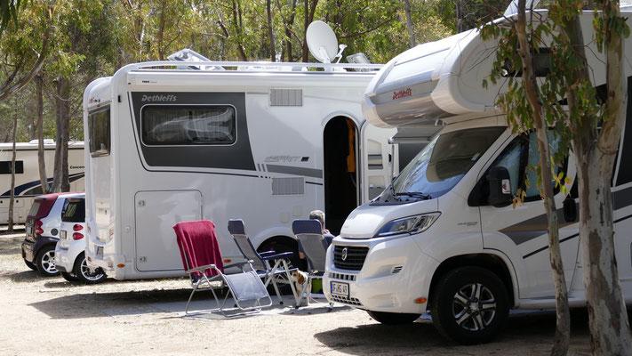 Unser Stellplatz im Campingplatz Isuledda in Cannigione
