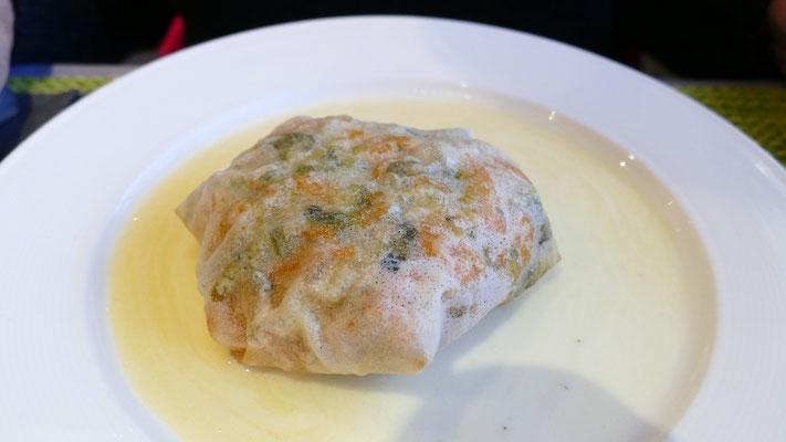 Croustillant de filet de lieu noir au beurre blanc