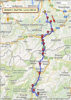 Die Route von Wackersberg nach Levico Terme