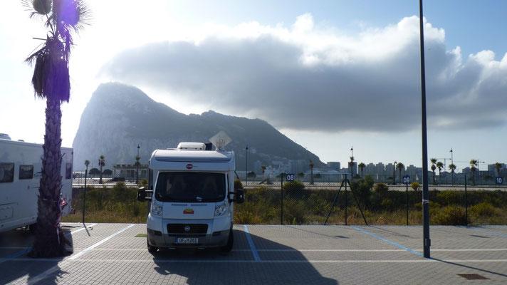 Unser Stellplatz direkt vor dem Gibraltar Berg.