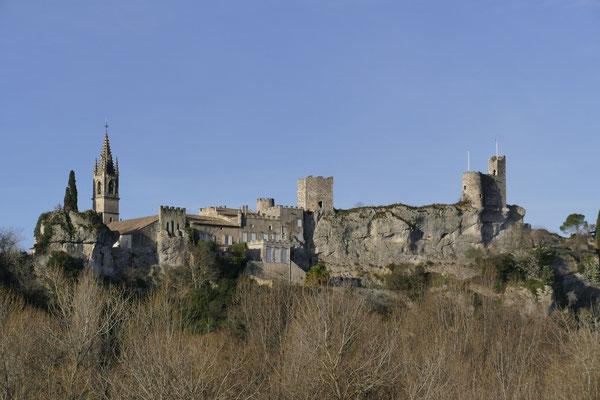 Ausblick auf eine Burganlage von Saint Martin d'Ardeche