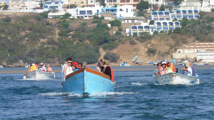 Wir sind mit den Booten unterwegs