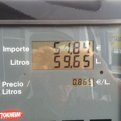 86,9 cent der Liter Diesel - sensationell