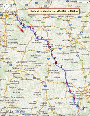 Die Route von Mainhausen nach Wackersberg