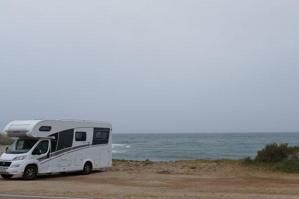 Unser freier Übernachtungsplatz direkt am Strand kurz vor San Juan de Los Terreros