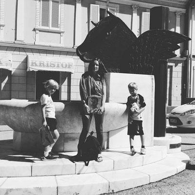 Jacqueline mit den Kindern in Bleiburg