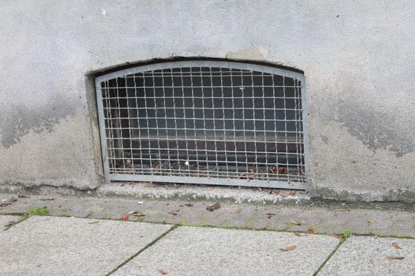 Kellerfenster, die Gitter vor den neuen Kellerfenstern waren nötig. Anfang der 90ger wurden die alten Fenster regelmäßig eingtreten und aller möglicher Unrat in unsere Kohlenkeller entsorgt.