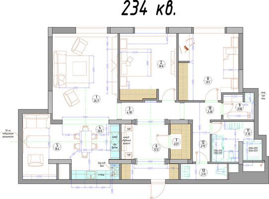 """ЖК """"Алые паруса"""" Авиационная дом 77 - четырёхкомнатная квартира в аренду."""