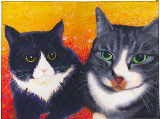 30 x 40 cm - Acryl auf Leinwand 40x30 cm - Luna & Mr. Pepper