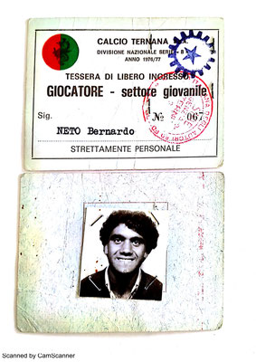 1976-77. Cartellino di Neto Bernardo (Giovanili)