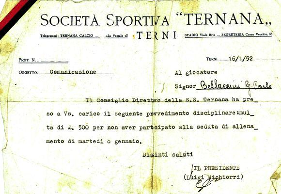 16-01-1952. Comunicazione societaria per assenza allenamenti al calciatore Bellaccini