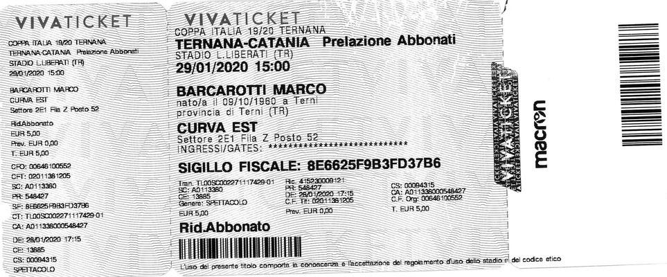 2020-01-29. Ternana-Catania 2-0 (Coppa Italia) (Biglietto)