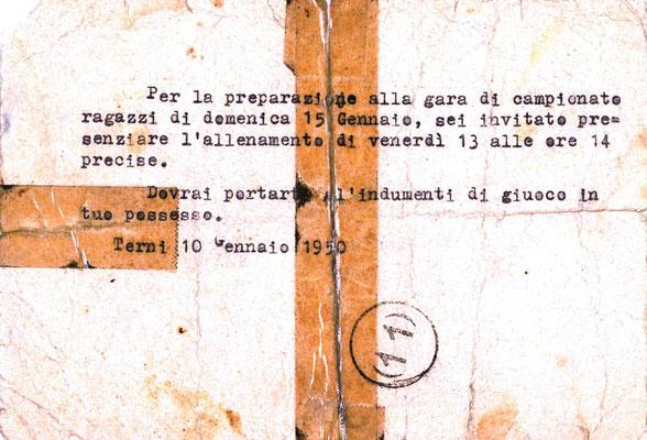10-01-1950. Comunicazione societaria degli allenamenti al calciatore Bellaccini (Pt. 2)