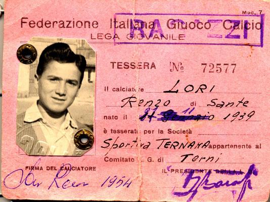 1954-55. Cartellino di Lori Renzo (Giovanili) (avanti)