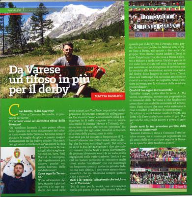 """2017-11-26. DAJE MO'! Il mio articolo della rubrica """"FERE DE FòRI"""",dedicato ai tifosi rossoverdi non ternani: Mattia Basilico"""