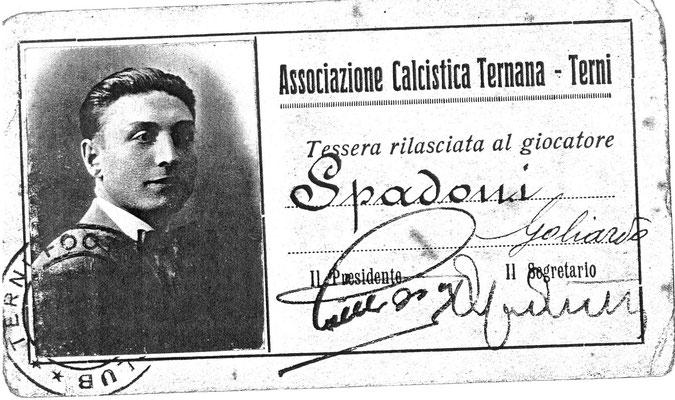 1930-31. Cartellino di Spadoni Goliardo