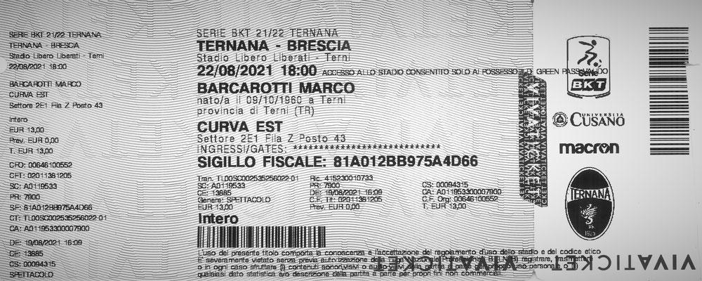 2021-08-22. Ternana-Brescia (Biglietto)