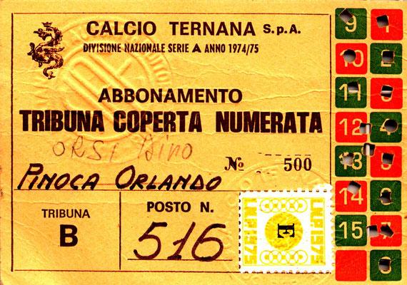 1974-75. Abbonamento
