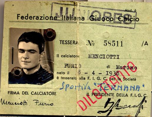 1957-58. Cartellino di Menciotti Furio
