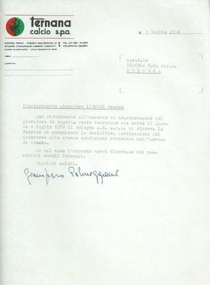 05-07-1970. Contratto di cessione al Bologna del calciatore Liguori Franco