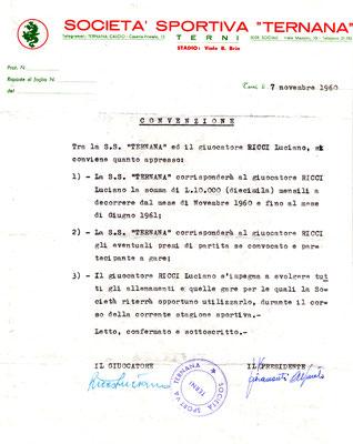 07-11-1960. Contratto del calciatore Ricci Luciano