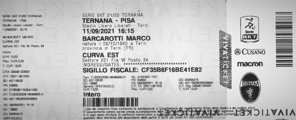 2021-09-11. Ternana-Pisa (Biglietto)