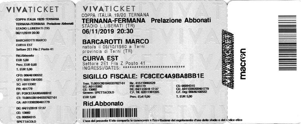 2019-11-06. Ternana-Fermana 4-1 (Coppa Italia) (Biglietto)