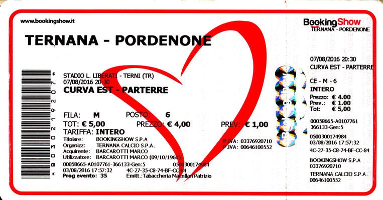 2016-08-07. Ternana-Pordenone 2-0 (Coppa Italia)
