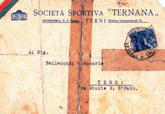 10-01-1950. Comunicazione societaria degli allenamenti al calciatore Bellaccini (Pt. 1)