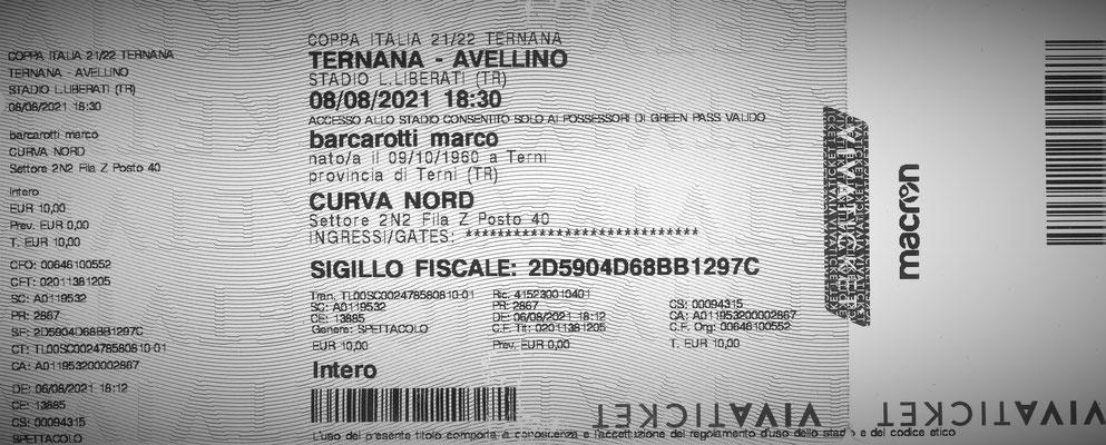 2021-08-08. Ternana-Avellino (Coppa Italia) (Biglietto)