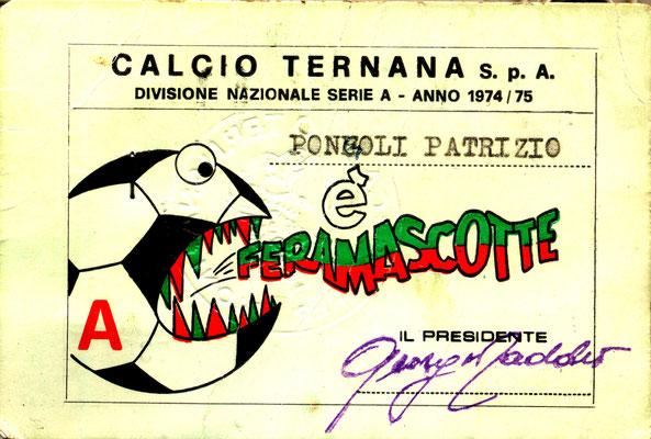 "1974-75. Abbonamento ""Feramascotet"" (Patrizio Pongoli)"