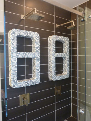 Custom glass dual shower head bathroom glass mosaic
