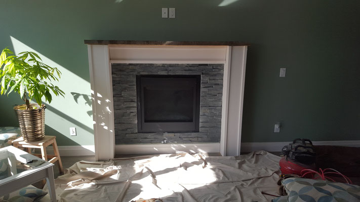 Custom fireplace surround and mantel