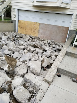Concrete driveway replacement demolition