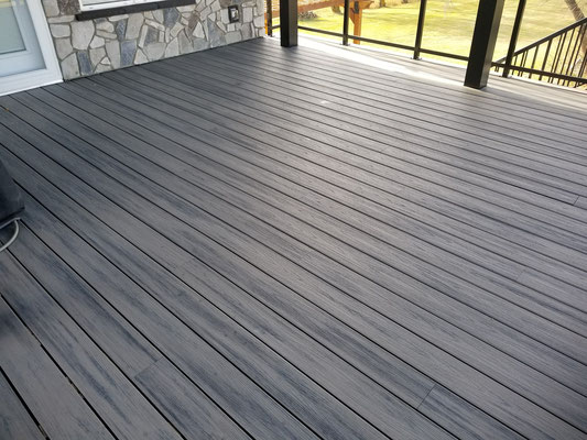 Covered deck addition composite decking