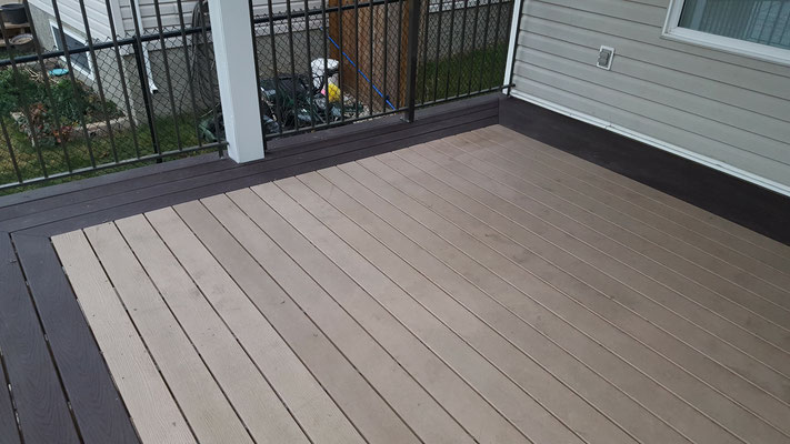 Covered deck roof addition composite decking