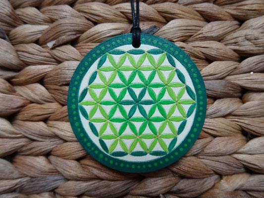 Kette - Blume des Lebens in Grün
