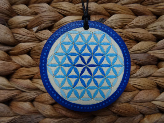 Kette - Blume des Lebens in Blau