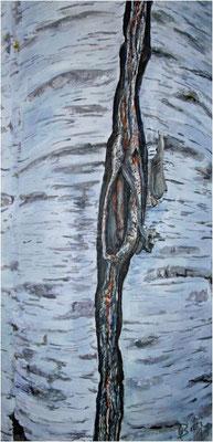 Wie im Innen, so das Aussen - Birke  - Acryl auf Leinwand 30x60 cm  -  CHF 1500