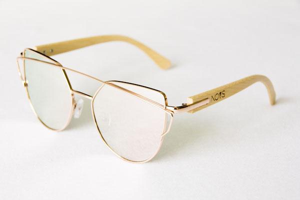 NOVS Sonnenbrille online Damen und Herren - Brille Bambus Holz rund rosé cateye VINTAGE