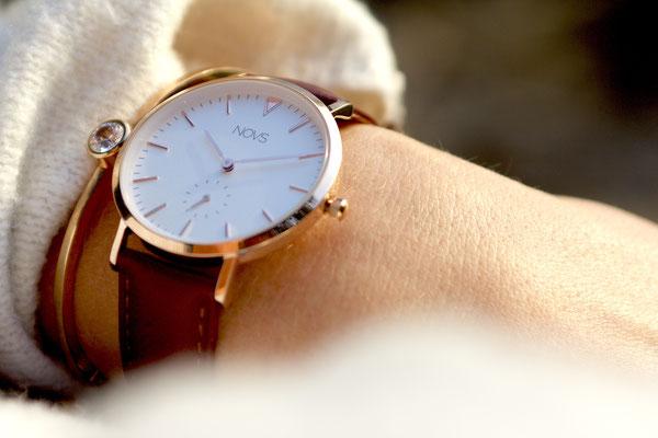 NOVS Uhr - Armbanduhr - Damen - NOVA rosé braun