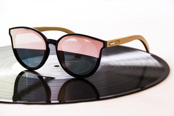 NOVS Sonnenbrille online Damen und Herren - Brille Bambus Holz rund schwarz rosé VISION