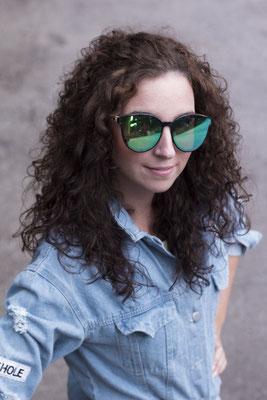 NOVS Sonnenbrille online Damen und Herren - Brille Bambus Holz rund schwarz türkis VISION