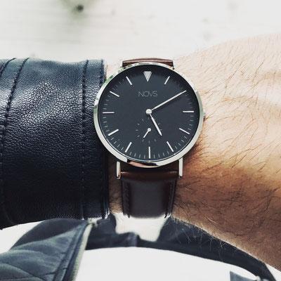 NOVS Uhr - Armbanduhr - Herren - NOVO silver brown - silber braun