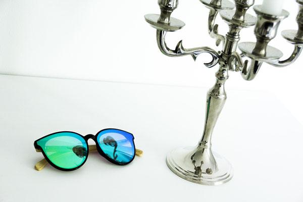 NOVS Sonnenbrille online Damen und Herren - Brille Bambus Holz rund türkis VISION